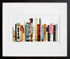 Jane Mount creates custom paintings of your own choice of books. Your perfect bookshelf. I want to order one for all of my relatives!