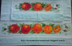 Pintura em Tecido jogo de banho com rosas vermelhas