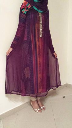 Pure chiffon dress with printed silk lining - by Sadiya Ghanchi