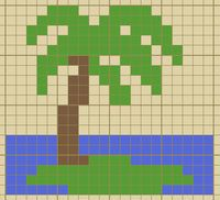 Miniature Palm tree pattern / chart for cross stitch, crochet, knitting, knotting, beading, weaving, pixel art, micro macrame, and other crafting projects.