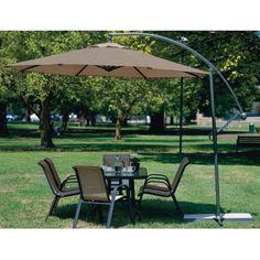 Black 11 Ft Offset Patio Umbrella With Crank Tilt And Aluminum Pole | Offset  Patio Umbrella, Aluminum Pole And Patio Umbrellas