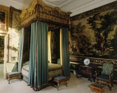 Burghley House, Stamford, Lincolnshire. Embossed wool camlet in dark celadon used as hangings on the 17th Century bed in the Queen Elizabeth Room. http://www.humphriesweaving.co.uk/projects.html