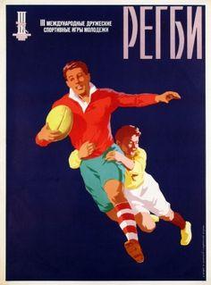 Rugby, 1957 - original vintage poster by Gitberg, Kanevsky, Znamensky, Ganeev listed on AntikBar.co.uk