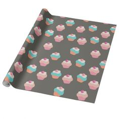 Cute Cupcakes Wrapping Paper.  #wrappingpaper https://www.zazzle.com/z/3yi9s