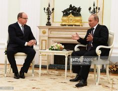 Prince Albert II of Monaco meets with Russian President Vladimir Putin (R) during their meeting at the Kremlin on October 4, 2013 in Moscow, Russia.
