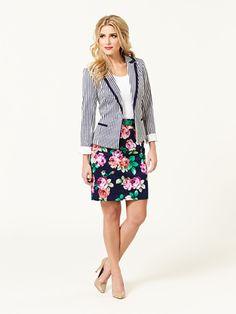 Review's spring collection; Jolene Striped Blazer, Chrissie top & Upper East Side Skirt