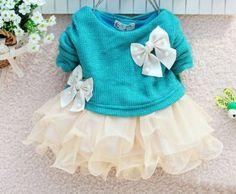 Newborn 0-3 Months Old Girls Aqua Blue Dress