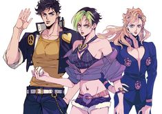 Josuke, Giorno and Jolyne hairstyle change. Wow, Josuke looks like a young Joseph. Giorno looks fabulous as always, and short hair really suits Jolyne. Jojo's Bizarre Adventure, Jojo's Adventure, Bizarre Art, Jojo Bizarre, Jojo Anime, Anime Love, Shizuka Joestar, Character Art, Character Design