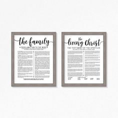 LDS The Living Christ and Family Proclamation Printable-Black Text-Choose your Sizes-Digital Files