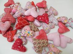 10 Stuffed Hearts for Crafting, Pink, Red, Flowers, Lace, Satin Fabric, Heart Mobile