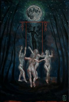 The Moon, Tarot artwork by Karyn Crisis Wiccan, Magick, Witchcraft, Dark Fantasy, Fantasy Art, Le Bateleur, The Moon Tarot, Love Tarot, Tarot Major Arcana