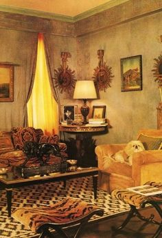 Lee Radziwill's infamously luxurious London townhouse as featured in an archived edition of Architectural Digest
