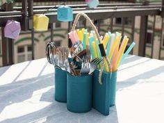DIY tutorial: Upcycle Tin Cans To A Cutlery Holder via DaWanda.com