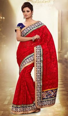 G3 fashions Red Net Jacquard Embroidered Designer Partywear Saree Product Code : G3-LS11855 Price : INR RS 4568