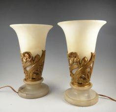 Exceptional Pair Vintage Art Deco 1920s Alabaster Blossom Mantle Torchiere  Lamps | EBay