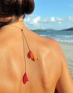 reversible macrame leaf necklace boho bohemian by Mediterrasian, $23.00