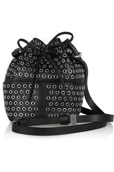 Tamara Mellon|Elixir eyelet-embellished leather bucket bag|NET-A-PORTER.COM