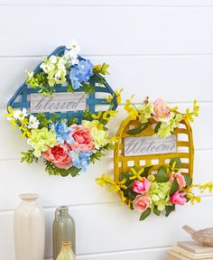 Floral Farmhouse Wall Baskets|LTD Commodities Framed Wall Art, Wall Art Decor, Ltd Commodities, Lakeside Collection, Baskets On Wall, Faux Flowers, Solar Lights, 5 D, Fundraising