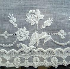 Em's Heart Antique Linens -Antique Linen Bridal Handkerchief