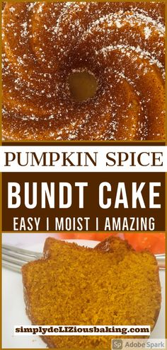 Pumpkin Spice Bundt Cake is perfect for fall and Thanksgiving. An easy fall cake recipe, it's exploding with delicious autumn flavor. The BEST dessert you'll have at your Thanksgiving table! Make it this fall or Thankgiving or both. Click here for recipe. #bundtcake #pumpkinspice cake #pumpkincake #fallcake