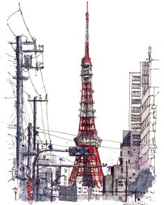 — Akihito Horigome (@horiaki2) в Instagram: «東京タワー -- Tokyo Tower , Japan  #aquarell #art #painting #watercolor #sketch  #paint #painting #sketch #drawing #sketching #sketchbook #travelbook #arch_more #archisketcher #sketchaday #sketchwalker #sketchcollector #artbook #artjournal #traveldiary #topcreator #usk #urbansketchers #urbansketch #скетчбук #скетч #скетчинг #pleinair #aquarelle #watercolorsketch #usk #architecture