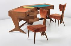 PHILLIPS : NY050313, Ico Parisi, Unique desk and two chairs