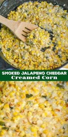 This is not your Grandma's creamed corn. This version is sweet, smokey, and infused with a heady combination of roasted jalapeno and tangy cheddar. Smoked Jalapeno Cheddar Creamed Corn is a must have side to your favorite smoked meat, making for an easy & Smoked Jalapeno, Roasted Jalapeno, Jalapeno Cheddar, Jalapeno Cream Corn, Smoked Corn Recipe, Cream Of Corn, Smoked Cheese, Smoked Meat Recipes, Cheddar Cheese
