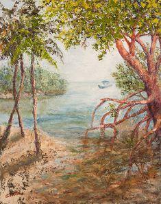 "Waterways Painting - The Journey Home by Annie St Martin-Florida Coastal Landscape, Seascape Painting ""The Journey Home"" by Florida Impressionism Artist Annie St Martin"