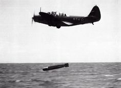 """A U.S. Navy Douglas TBD-1 Devastator (BuNo 0325, """"6-T-4"""") of torpedo squadron VT-6 from the aircraft carrier USS Enterprise (CV-6) making a practice drop with a Mark 13 torpedo on October 20, 1941."""