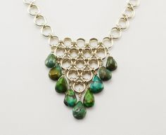 Turquoise Sterling Silver Chainmaille Bib Necklace