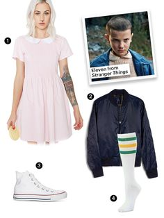Eleven from 'Stranger Things' The only thing missing is a box of Eggo waffles. Easy College Halloween Costumes, Celebrity Halloween Costumes, Homemade Halloween Costumes, Halloween Diy, Witch Costumes, Halloween Inspo, Disney Costumes, Halloween Halloween, Halloween Makeup
