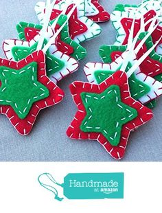 10 red and green star ornaments, green Christmas tree decorations, green star decor, holiday ornies, felt fabric hanging star shapes – christmas decorations Christmas Star Decorations, Felt Christmas Ornaments, Hanging Decorations, Green Christmas, Christmas Diy, Christmas Stars, Christmas Projects, Holiday Crafts, Christmas Sewing