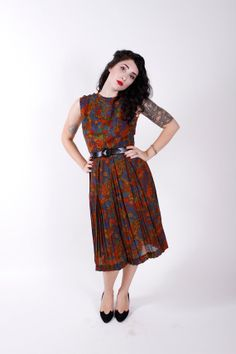 50s Vintage Dress Mid Century Print Late 1950s by stutterinmama, $54.00