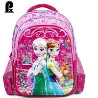 2016  fashion school bags kids backpacks The Snow Queen primary schoolbags cartoons girls waterproof Polyester  sac enfant anna