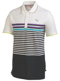 1fcab5dccf3c This comfortable mens NA CB stripe golf polo shirt by Puma features Dri  release fabrication that helps draw moisture away from the skin and  FreshGuard to ...