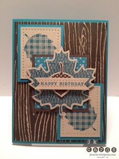 Stampin' Up!, Paper Players #110, Wonderfall, From My Heart, Woodgrain Embossing Folder, Bitty Banners Framelits, Autumn Accents Bigz Die, Essentials Paper-Piercing Pack, Paper-Piercing Tool, Core'dinations, Stampin' Sanding System