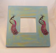 Hand Painted and Stamped Square Peacock Mirror - Free P Peacock Mirror, One Day Sale, Mirrors, Random Stuff, September, Artisan, Stamp, Hand Painted, Club