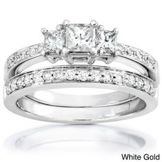 @Overstock - Annello 14k Gold 5/8ct TDW Princess Diamond Bridal Set (H-I, I1-I2) - Click here for Ring Sizing Chart.Diamond engagement ring and wedding band14-karat white gold, yellow gold, or rose gold jewelry    http://www.overstock.com/Jewelry-Watches/Annello-14k-Gold-5-8ct-TDW-Princess-Diamond-Bridal-Set-H-I-I1-I2/4075621/product.html?CID=214117  $774.34