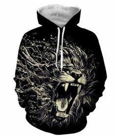 Lion Black Hoodie Sweatshirts