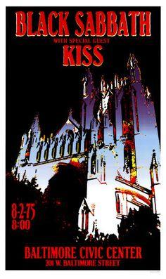 Black Sabbath and Kiss Concert Poster Concert Rock, Kiss Concert, Tour Posters, Band Posters, Woodstock, Hard Rock, Black Sabbath Concert, Jimi Hendrix Poster, Pop Art