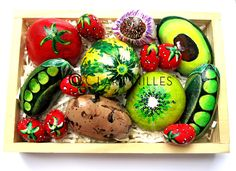 Painted Rocks - Box of Produce By Clara Nilles Rock Box, Painted Rocks, Easter Eggs, Artist, Painting, Artists, Painting Art, Painted Pebbles, Paintings