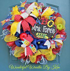 Back to school wreath Teacher appreciation by WonderfulWreathsKim