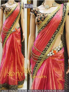 Rozdeal New Pink Shaded Designer Saree With Heavy Worked Blouse. STYLE: Designer Saree FABRIC: Paper Silk WORK: Thread Work, Multi Work COLOUR: Orange, navy OCCASION: Party, Festival, Reception, Ceremonial Blouse Fabric : Banglori Saree Size:- 5.50mtr Blouse Size:-0.80mtr
