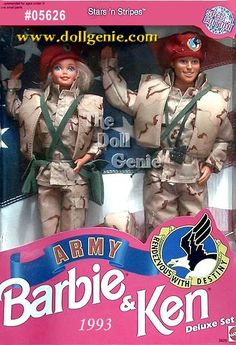This deluxe giftset features Barbie and Ken dolls in authentic desert battle uniforms of camouflage material. Both dolls wear matching camouflage jackets, pants, and vest, green over-the-shoulder bags, and maroon berets. Caucasian Version