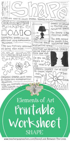 Shape Elements of Art Printable Worksheet, Middle School Art or High School Art - Art Education ideas Art Worksheets, Printable Worksheets, School Worksheets, Elements And Principles, Elements Of Art, High School Art, Middle School Art, Classe D'art, Handout