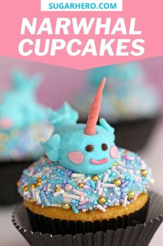 Cute narwhal cupcakes made with buttercream--no fondant required! They're easy to make, perfect for parties, and kids love them! | From SugarHero.com #sugarhero #cupcakes #narwhal #narwhalcupcakes #kidscupcakes
