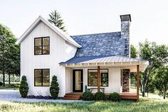 Plan Modern Farmhouse Cabin with Upstairs Loft This is a modern farmhouse style cabin plan that sleeps a couple on the main floor and friends upstairs in the loft.A wrap-around covered porch gives views on three sides of your property.The cabin i Small Farmhouse Plans, Modern Farmhouse Exterior, Modern Farmhouse Style, Modern Cottage, Cottage Farmhouse, Farmhouse Decor, Farmhouse Style Homes, Farmhouse Office, Farmhouse Windows