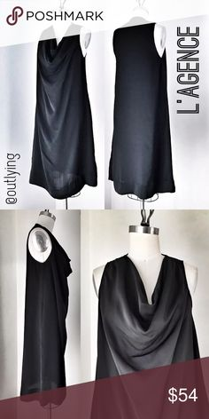 """L'AGENCE Silk Black Tank Dress with pockets L'AGENCE Silk Cowl Tank Dress Sample Size 6 Retail Price: $299 NWOT / never worn Length 41"""" Bust 36"""" Hip 46""""   -100% Silk Charmeuse -Cowl neck -Aline silhouette -Side seam pockets  L'AGENCE is created by legendary stylist agent Margaret Maldonado, L'AGENCE was launched in 2008. By understanding the incredible offerings of high-quality fabrics when paired with an eye for well-edited design. L'AGENCE Dresses"""