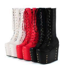 Women High Platform Riding Wedge Heel Rivet Lace Up Winter Knee High Boots Shoes