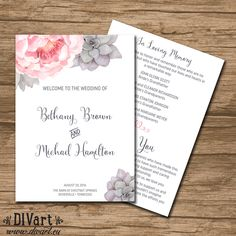 Succulent Wedding Program, Ceremony Program, Booklet style - PRINTABLE files - watercolor succulent and peony, watercolor - Bethany by DIVart on Etsy